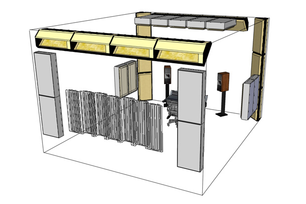 Room treatment layout 2 (arrangement of bass absorbers, RFZ & back wall diffuser)