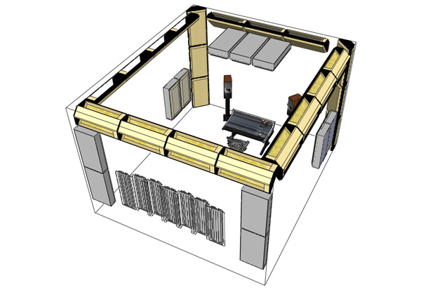 Room acoustic treatment layout 3 showing bass absorber placement