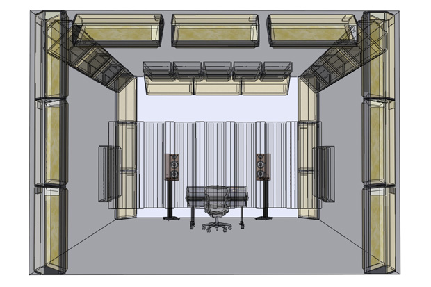 Critical listening / control room showing treatment with corner bass traps