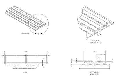 Acoustic Diffuser Panel A1-LF Fabrication Drawing (full height module)