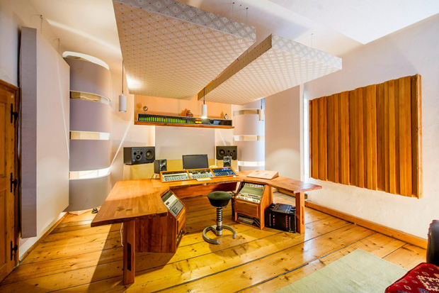 Castle Mastering Studio showing ceiling cloud, corner bass traps and side wall diffusers