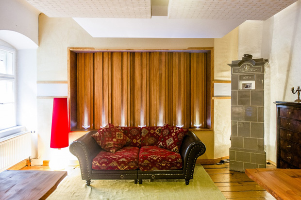Sound diffusers built into the rear wall of Castle Mastering Studio