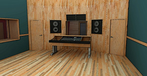 Flush-mounted speakers in recording studio control room
