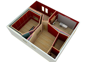 Perspective aerial view of home recording studio barn conversion, produced during the design development phase.