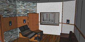 3D conceptual view inside a 5.1 control room (window looks out to live music room), produced during the schematic design phase.