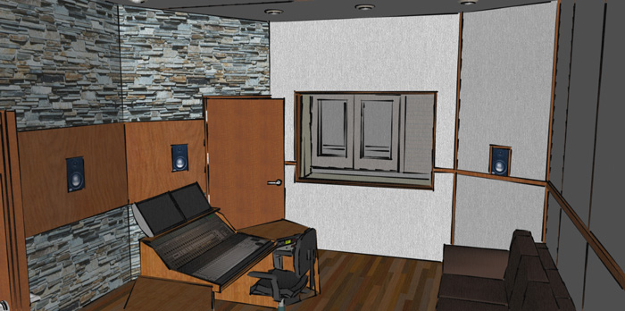 ... 3D Conceptual View Inside A 5.1 Control Room (window Looks Out To Live  Music Room Perspective Aerial View Of Home Recording Studio ...
