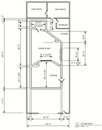 Recording Studio Design: SoundWise Studio Floor Plan Revision 0 With  Dimensions