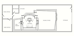Revised draft of recording & post production studio layout produced during the schematic design phase.