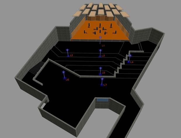 Recital Hall 3D Model, Overhead Perspective